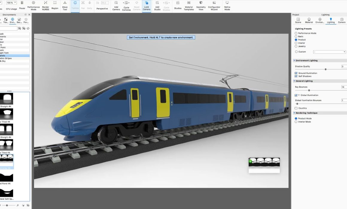 Rhino & KeyShot for Mac Train Rendering Video Tutorial Screenshot