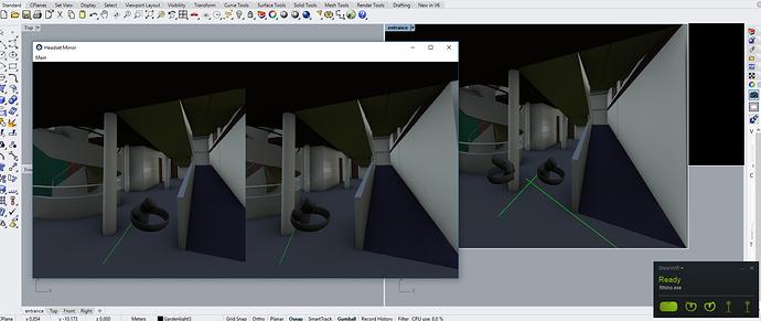 Screen-grab of RhinoVR, the Rhino3d plugin for VR/AR