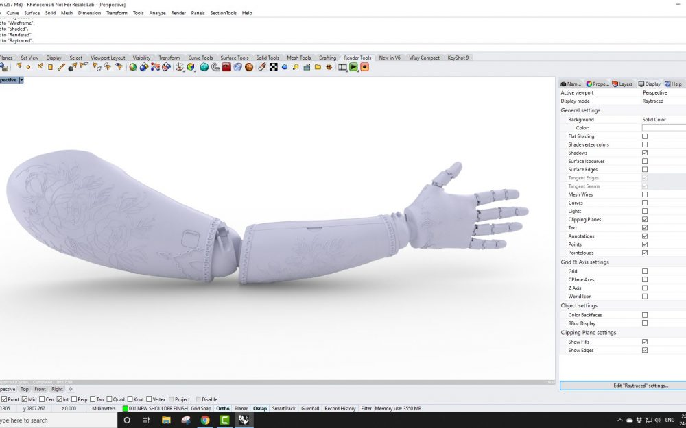 Screenshot of Prosthetic Arm from Rhino3d Video looking at QuadRemesh