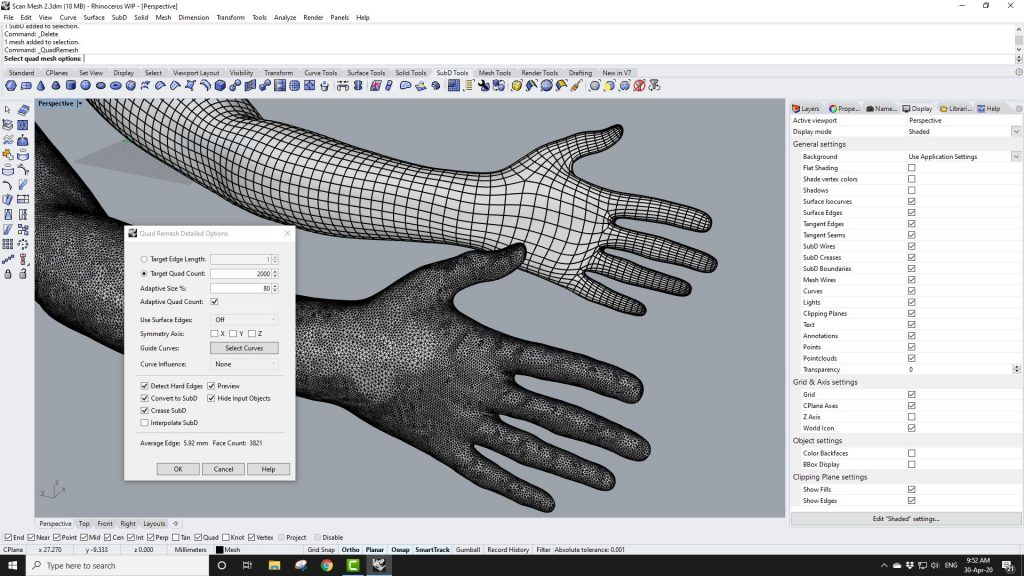Screenshot from Rhino3d Video Looking at QuadRemesh in Rhino3d v7 WIP
