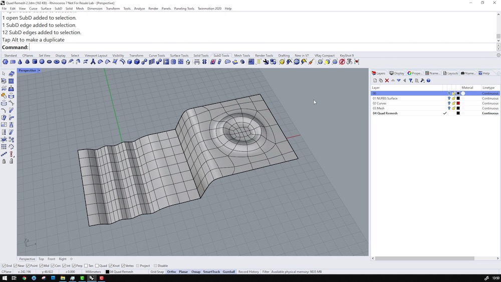 Screenshot of Rhino 3D v7 showing QuadRemesh tools