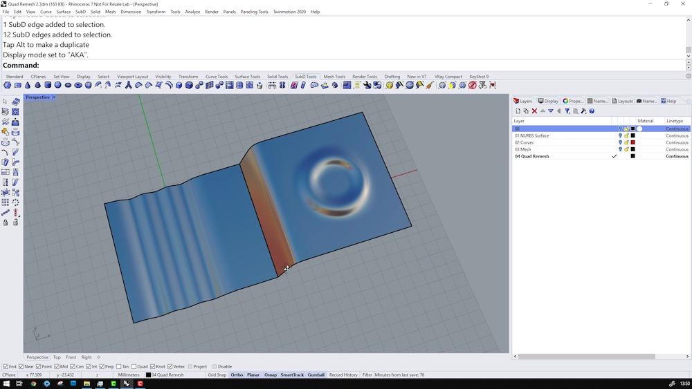 Screenshot of Rhino 3D v7 showing QuadRemesh tools