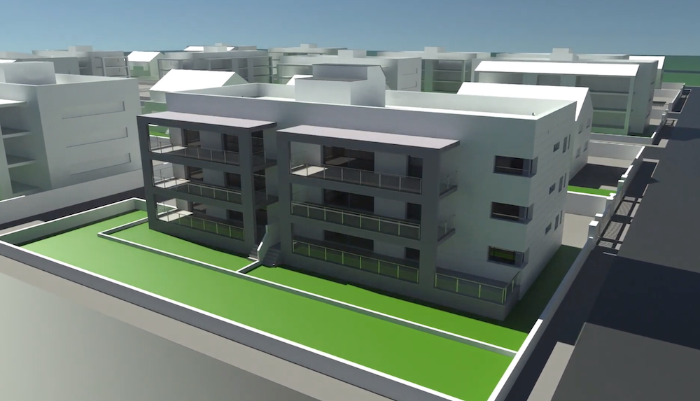 Screenshot of an apartment block being rendered in KeyShot 10 from Rhino v7 and KeyShot Video Tutorial