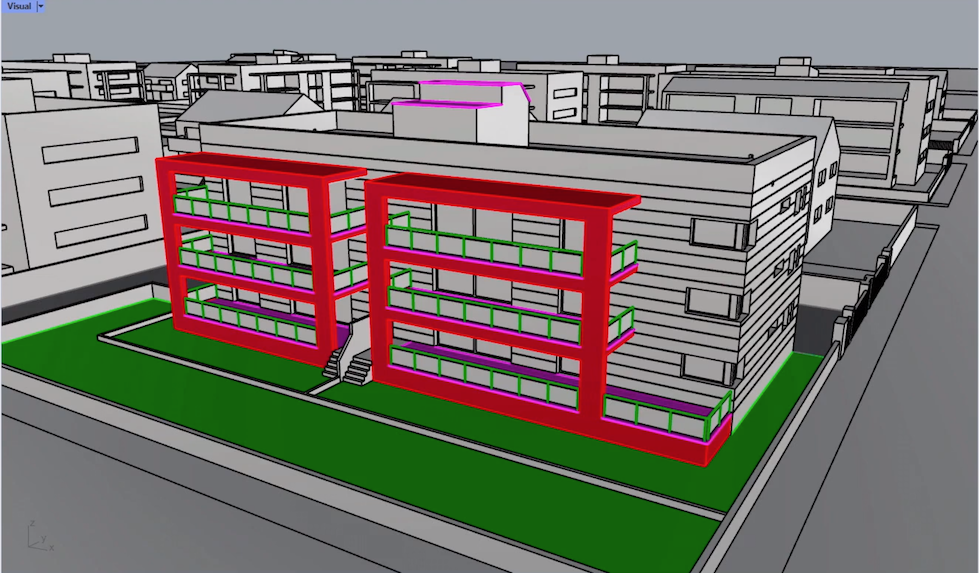 Screenshot of an apartment block being modelled in Rhino3d from Rhino v7 and KeyShot Video Tutorial