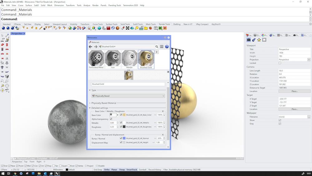 Rhino 3D v7 Screenshot showing work using Physically Based Materials