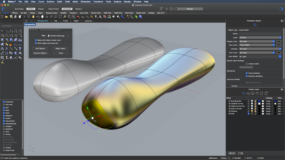 Screenshot of SubD work in Rhino 3D v7 for Mac