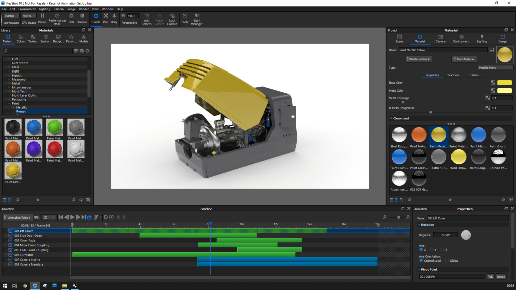 Screenshot of KeyShot 10 Interface from Part Animation Video Tutorial