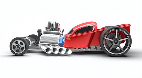 A concept racing car designed using Rhino 3D v7