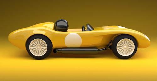 A yellow coloured concept design for a racing car.