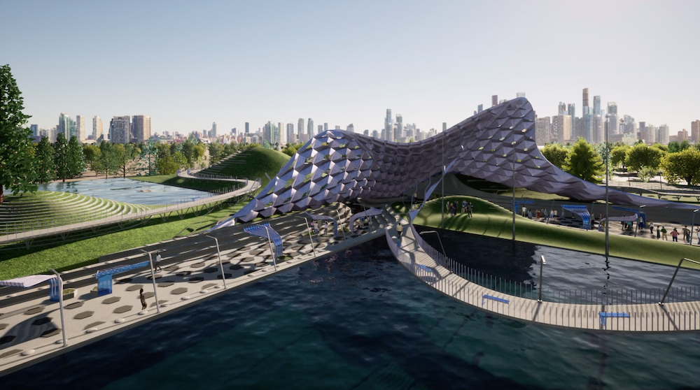 Image shows a screenshot of a scene with a central pavilion by a waterfront with a skyscraper background, designed in Rhino and Grasshopper which has been rendered in Twinmotion.