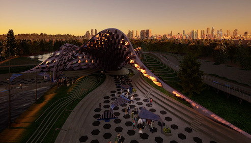 Sunset scene of a Rhino3D modelled Pavilion rendered in Twinmotion software